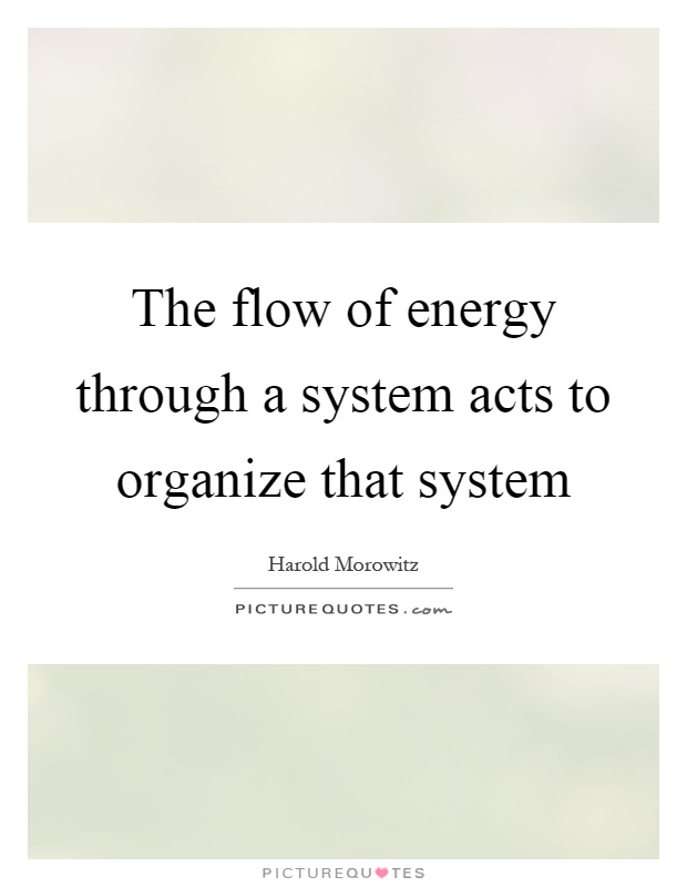 The flow of energy through a system acts to organize that system Picture Quote #1