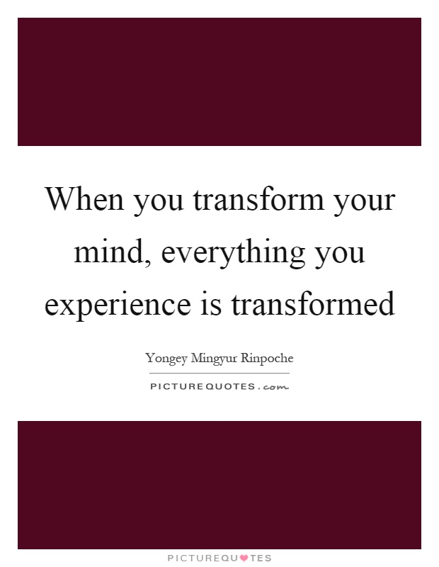 When you transform your mind, everything you experience is transformed Picture Quote #1