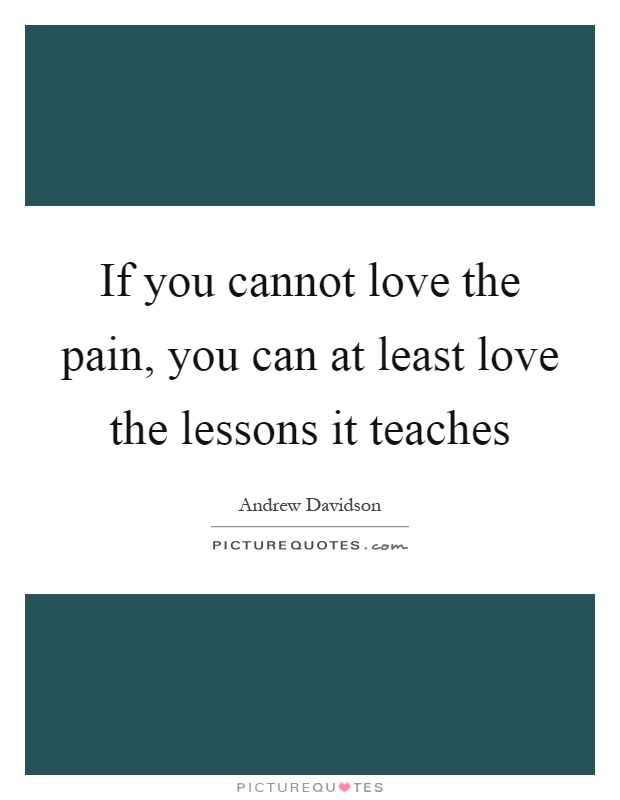 If you cannot love the pain, you can at least love the lessons it teaches Picture Quote #1