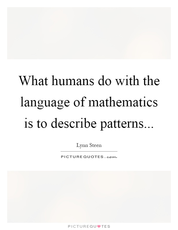 What humans do with the language of mathematics is to describe patterns Picture Quote #1