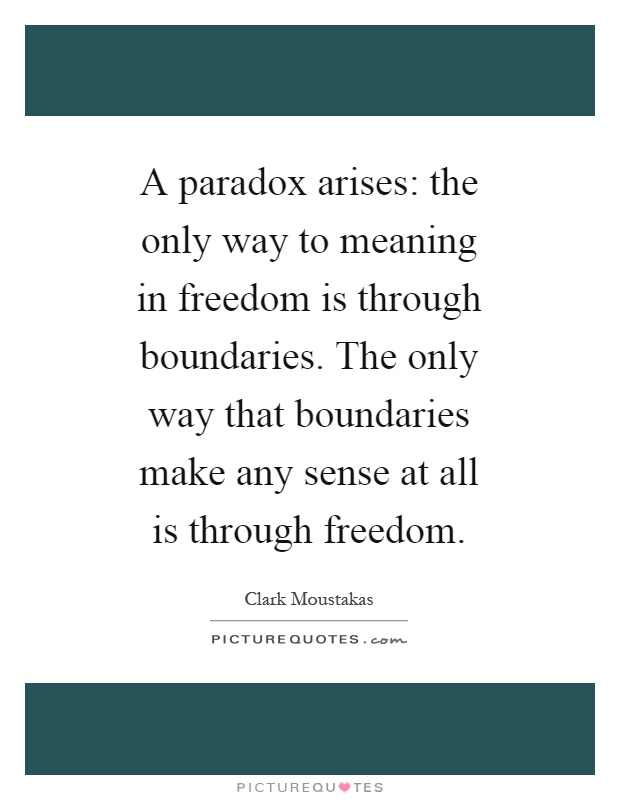 A paradox arises: the only way to meaning in freedom is through boundaries. The only way that boundaries make any sense at all is through freedom Picture Quote #1