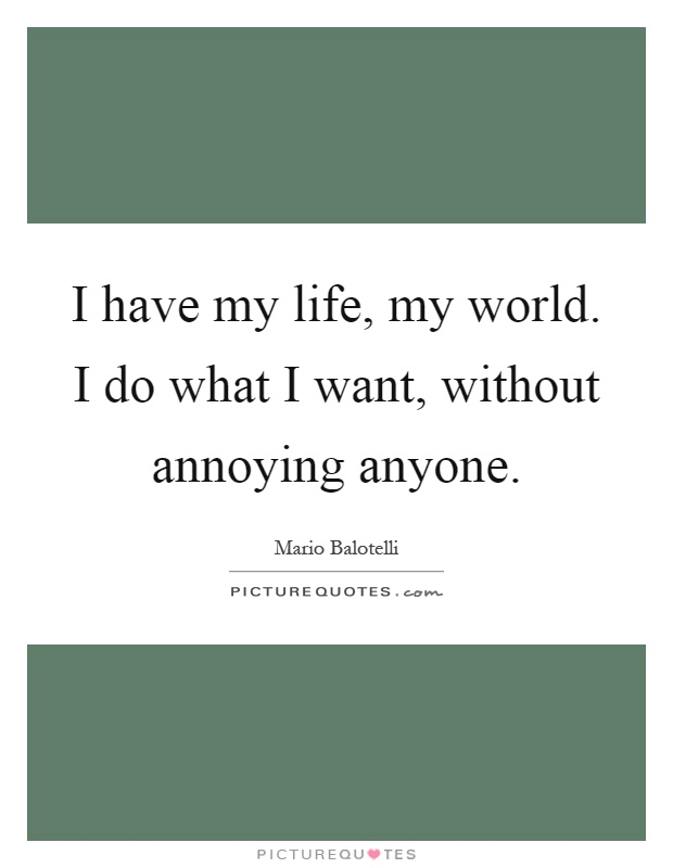 I have my life, my world. I do what I want, without annoying anyone Picture Quote #1