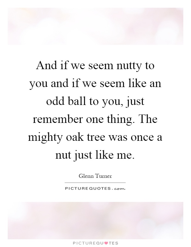 And if we seem nutty to you and if we seem like an odd ball to you, just remember one thing. The mighty oak tree was once a nut just like me Picture Quote #1