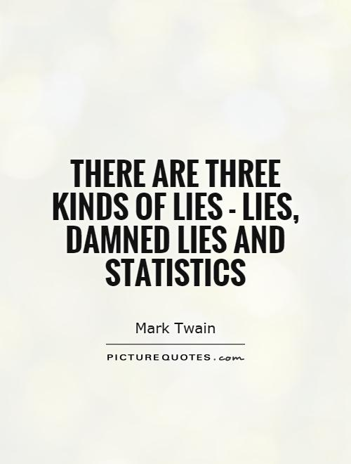 There are three kinds of lies - lies, damned lies and statistics Picture Quote #1