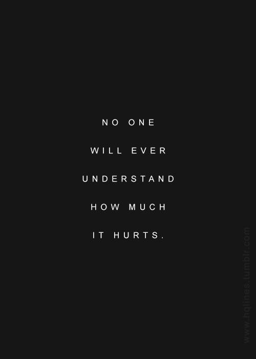 No one will ever understand how much it hurts Picture Quote #1