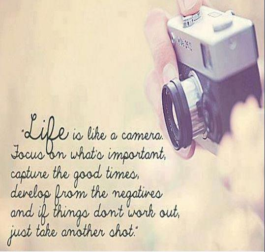 Life is like a camera lens. Focus on what's important, capture the good times, develop from the negatives and if things don't work out, just take another shot Picture Quote #1
