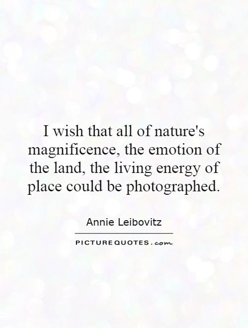 I wish that all of nature's magnificence, the emotion of the land, the living energy of place could be photographed Picture Quote #1