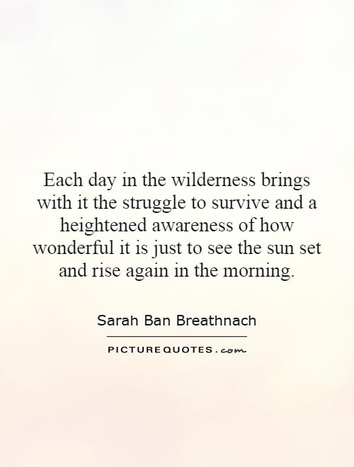 Each day in the wilderness brings with it the struggle to survive and a heightened awareness of how wonderful it is just to see the sun set and rise again in the morning Picture Quote #1
