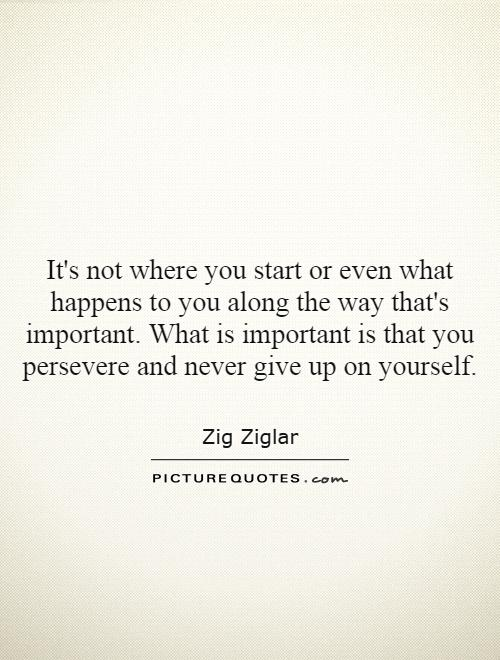It's not where you start or even what happens to you along the way that's important. What is important is that you persevere and never give up on yourself Picture Quote #1