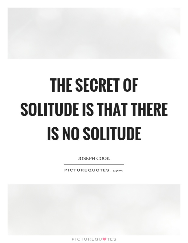 The secret of solitude is that there is no solitude Picture Quote #1