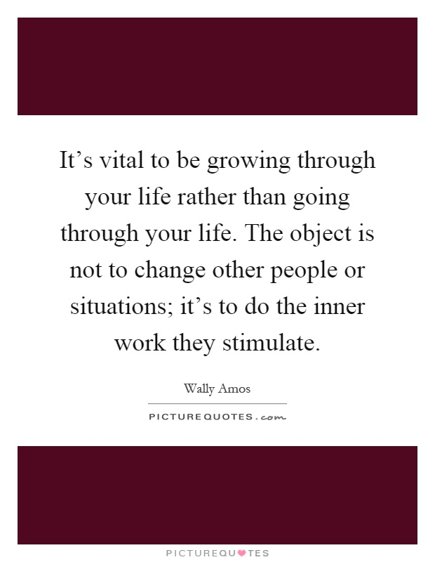 It's vital to be growing through your life rather than going through your life. The object is not to change other people or situations; it's to do the inner work they stimulate Picture Quote #1