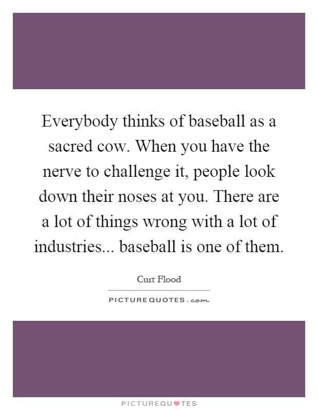 Everybody thinks of baseball as a sacred cow. When you have the nerve to challenge it, people look down their noses at you. There are a lot of things wrong with a lot of industries... baseball is one of them Picture Quote #1