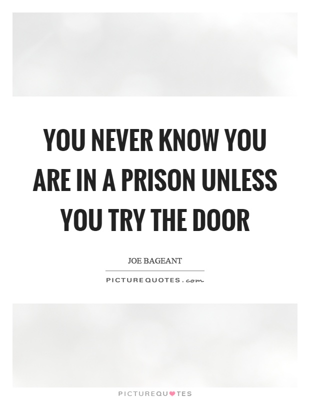 You never know you are in a prison unless you try the door Picture Quote #1