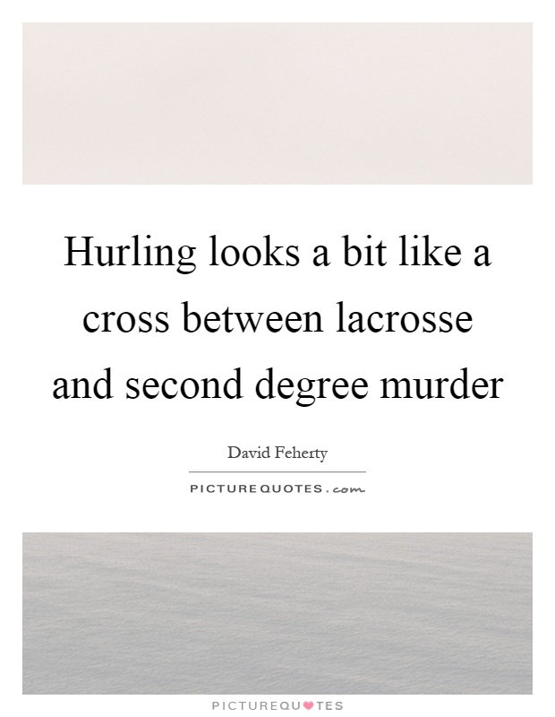 Hurling looks a bit like a cross between lacrosse and second degree murder Picture Quote #1