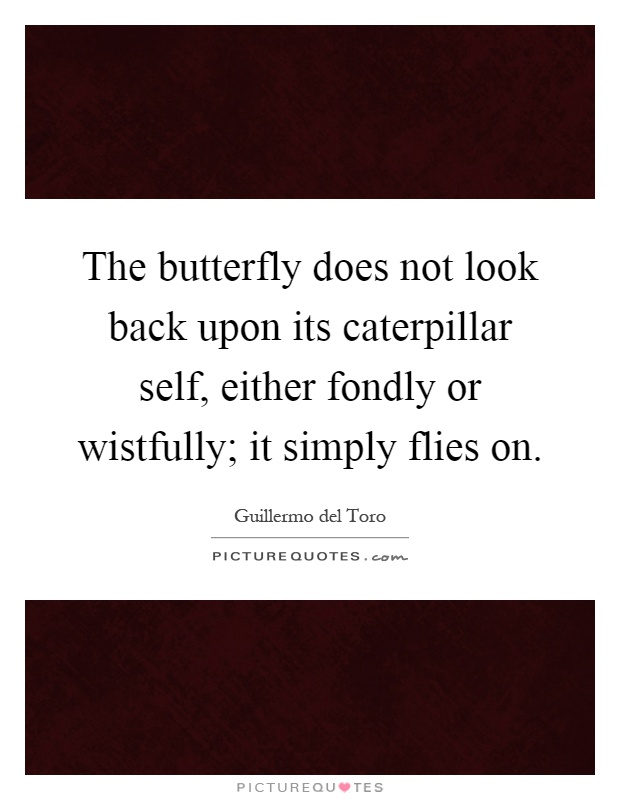 The butterfly does not look back upon its caterpillar self, either fondly or wistfully; it simply flies on Picture Quote #1