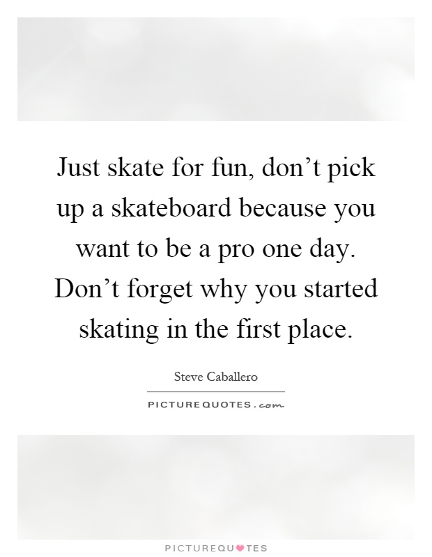 Just skate for fun, don't pick up a skateboard because you want to be a pro one day. Don't forget why you started skating in the first place Picture Quote #1