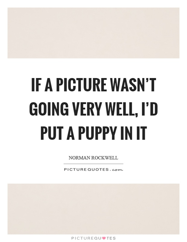 If a picture wasn't going very well, I'd put a puppy in it Picture Quote #1