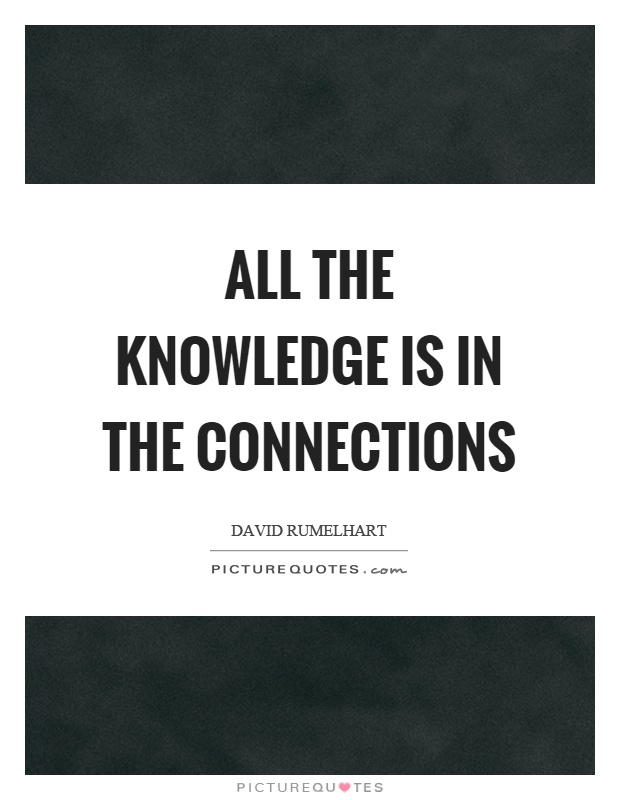 All the knowledge is in the connections Picture Quote #1