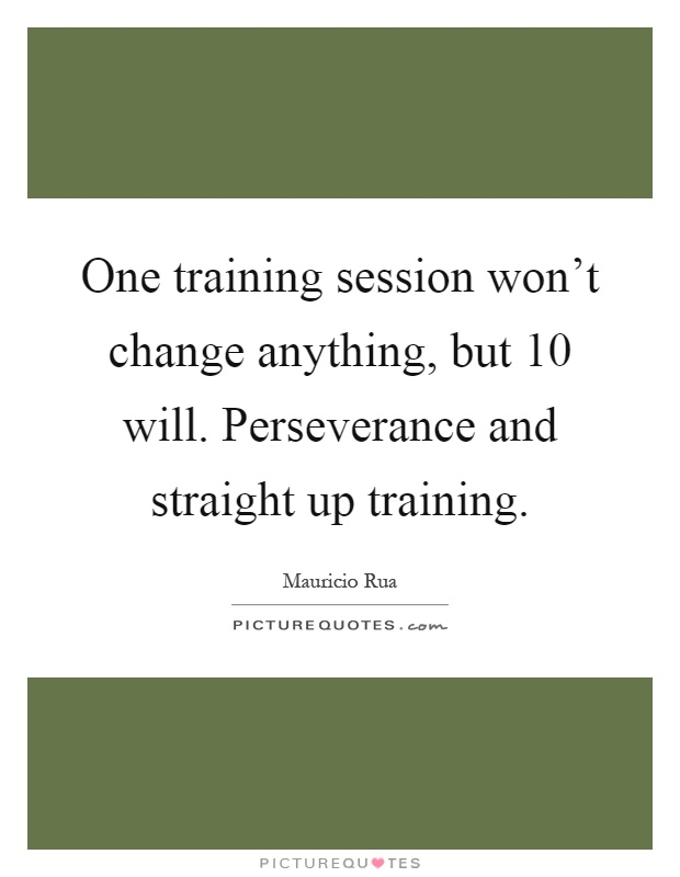 One training session won't change anything, but 10 will. Perseverance and straight up training Picture Quote #1