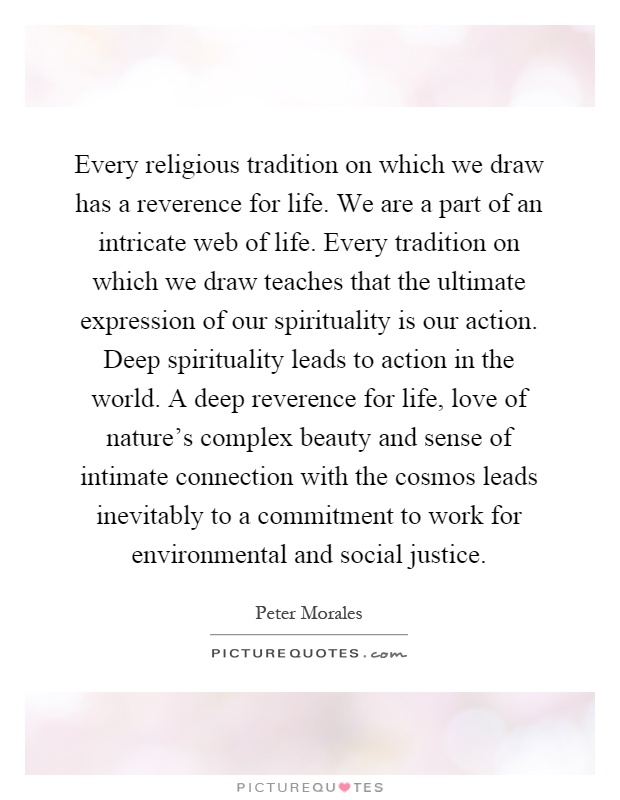 Every religious tradition on which we draw has a reverence for life. We are a part of an intricate web of life. Every tradition on which we draw teaches that the ultimate expression of our spirituality is our action. Deep spirituality leads to action in the world. A deep reverence for life, love of nature's complex beauty and sense of intimate connection with the cosmos leads inevitably to a commitment to work for environmental and social justice Picture Quote #1