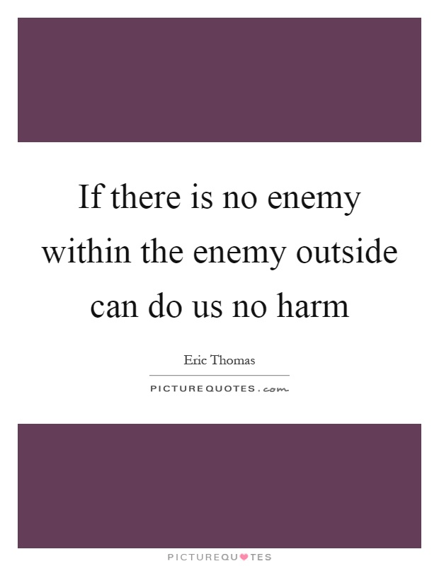 If there is no enemy within the enemy outside can do us no harm Picture Quote #1