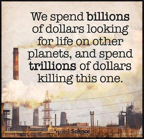 We spend billions of dollars looking for life on other planets, and spend trillions of dollars killing this one Picture Quote #1