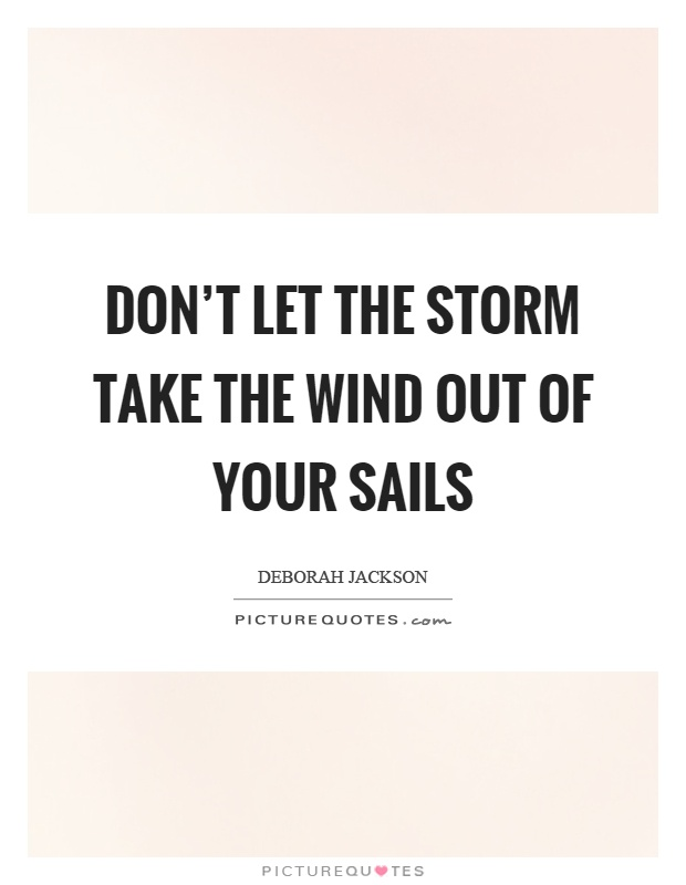 Don't let the storm take the wind out of your sails Picture Quote #1