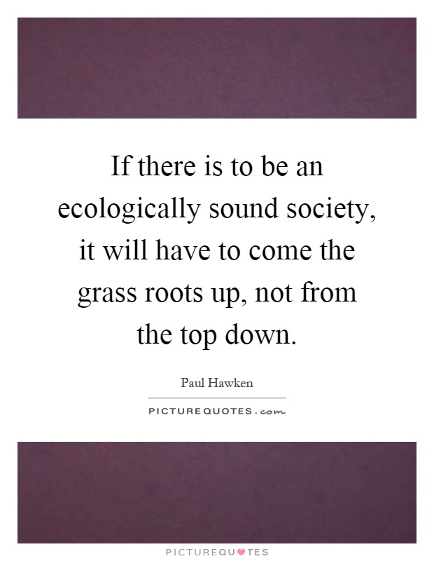 If there is to be an ecologically sound society, it will have to come the grass roots up, not from the top down Picture Quote #1