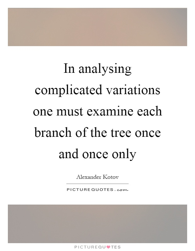 In analysing complicated variations one must examine each branch of the tree once and once only Picture Quote #1