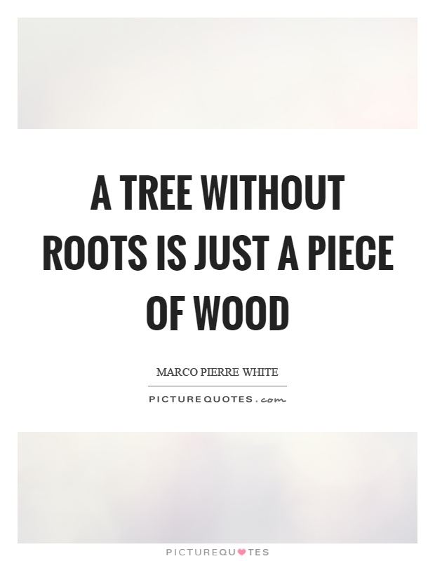 A tree without roots is just a piece of wood Picture Quote #1