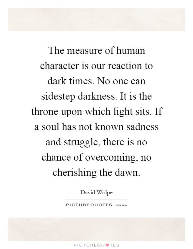 The measure of human character is our reaction to dark times. No one can sidestep darkness. It is the throne upon which light sits. If a soul has not known sadness and struggle, there is no chance of overcoming, no cherishing the dawn Picture Quote #1