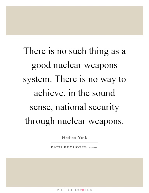 There is no such thing as a good nuclear weapons system. There is no way to achieve, in the sound sense, national security through nuclear weapons Picture Quote #1