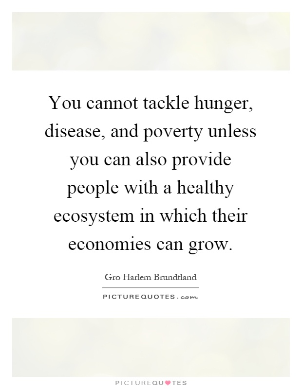 You cannot tackle hunger, disease, and poverty unless you can also provide people with a healthy ecosystem in which their economies can grow Picture Quote #1