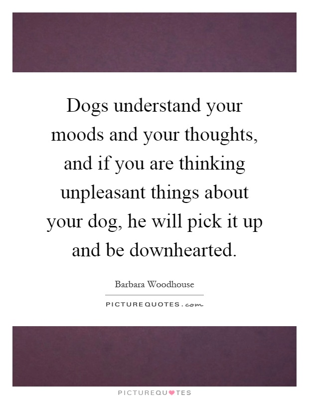 Dogs understand your moods and your thoughts, and if you are thinking unpleasant things about your dog, he will pick it up and be downhearted Picture Quote #1