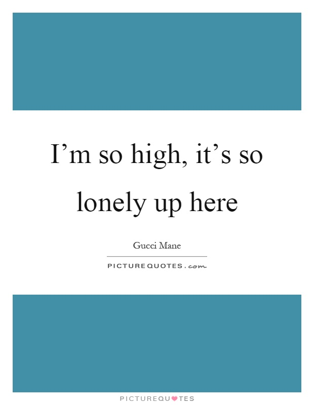 I'm so high, it's so lonely up here Picture Quote #1