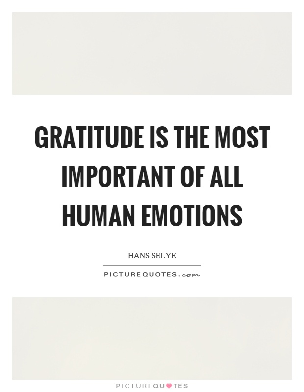 Gratitude is the most important of all human emotions Picture Quote #1