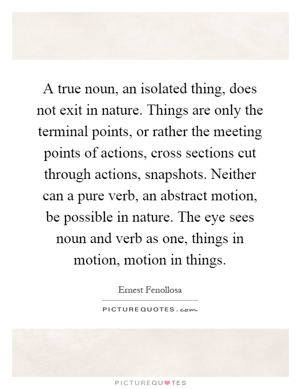 A true noun, an isolated thing, does not exit in nature. Things are only the terminal points, or rather the meeting points of actions, cross sections cut through actions, snapshots. Neither can a pure verb, an abstract motion, be possible in nature. The eye sees noun and verb as one, things in motion, motion in things Picture Quote #1