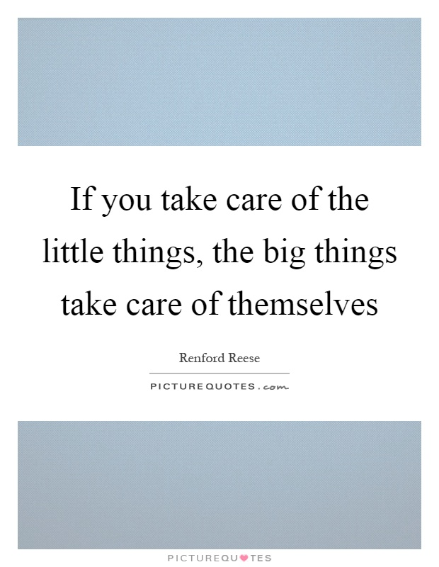 If you take care of the little things, the big things take care of themselves Picture Quote #1