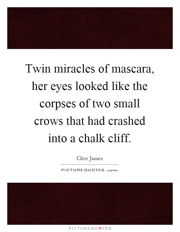 Twin miracles of mascara, her eyes looked like the corpses of two small crows that had crashed into a chalk cliff Picture Quote #1