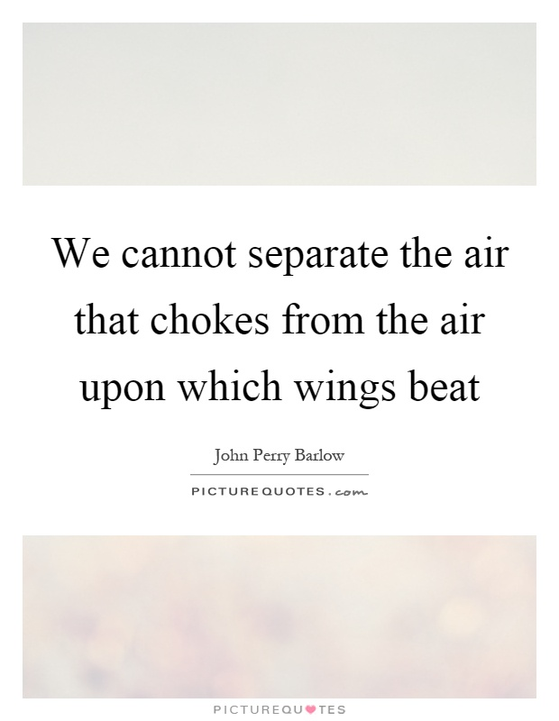 We cannot separate the air that chokes from the air upon which wings beat Picture Quote #1