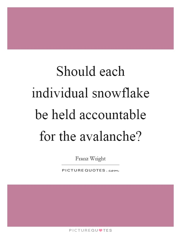 Should each individual snowflake be held accountable for the avalanche? Picture Quote #1
