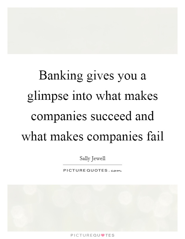 Banking gives you a glimpse into what makes companies succeed and what makes companies fail Picture Quote #1