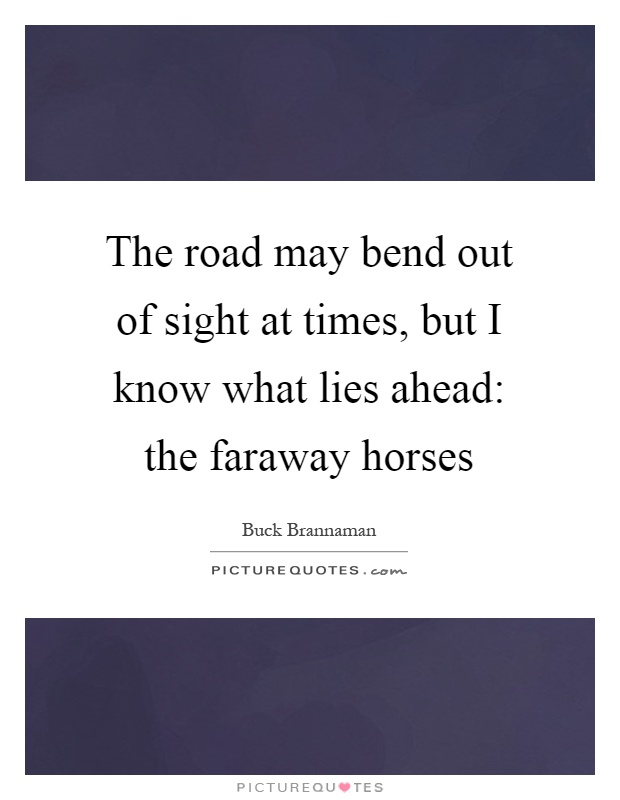 The road may bend out of sight at times, but I know what lies ahead: the faraway horses Picture Quote #1