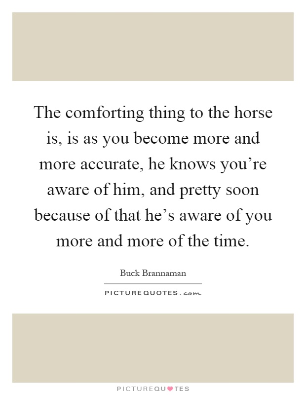 The comforting thing to the horse is, is as you become more and more accurate, he knows you're aware of him, and pretty soon because of that he's aware of you more and more of the time Picture Quote #1