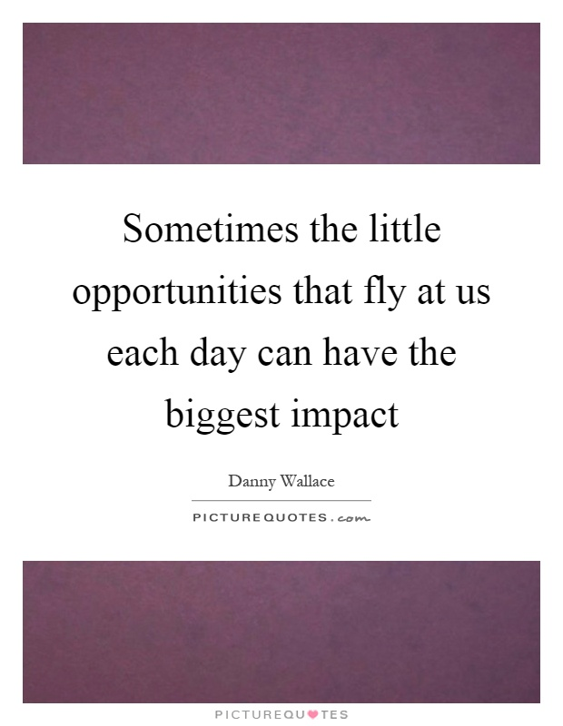 Sometimes the little opportunities that fly at us each day can have the biggest impact Picture Quote #1