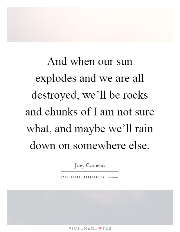 And when our sun explodes and we are all destroyed, we'll be rocks and chunks of I am not sure what, and maybe we'll rain down on somewhere else Picture Quote #1