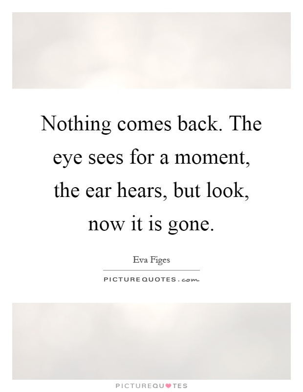 Nothing comes back. The eye sees for a moment, the ear hears, but look, now it is gone Picture Quote #1