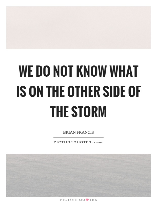 We do not know what is on the other side of the storm Picture Quote #1
