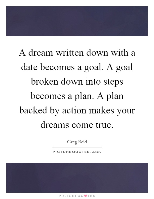 A dream written down with a date becomes a goal. A goal broken down into steps becomes a plan. A plan backed by action makes your dreams come true Picture Quote #1