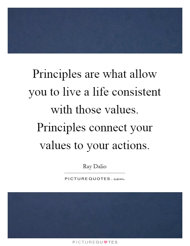 Principles are what allow you to live a life consistent with those values. Principles connect your values to your actions Picture Quote #1